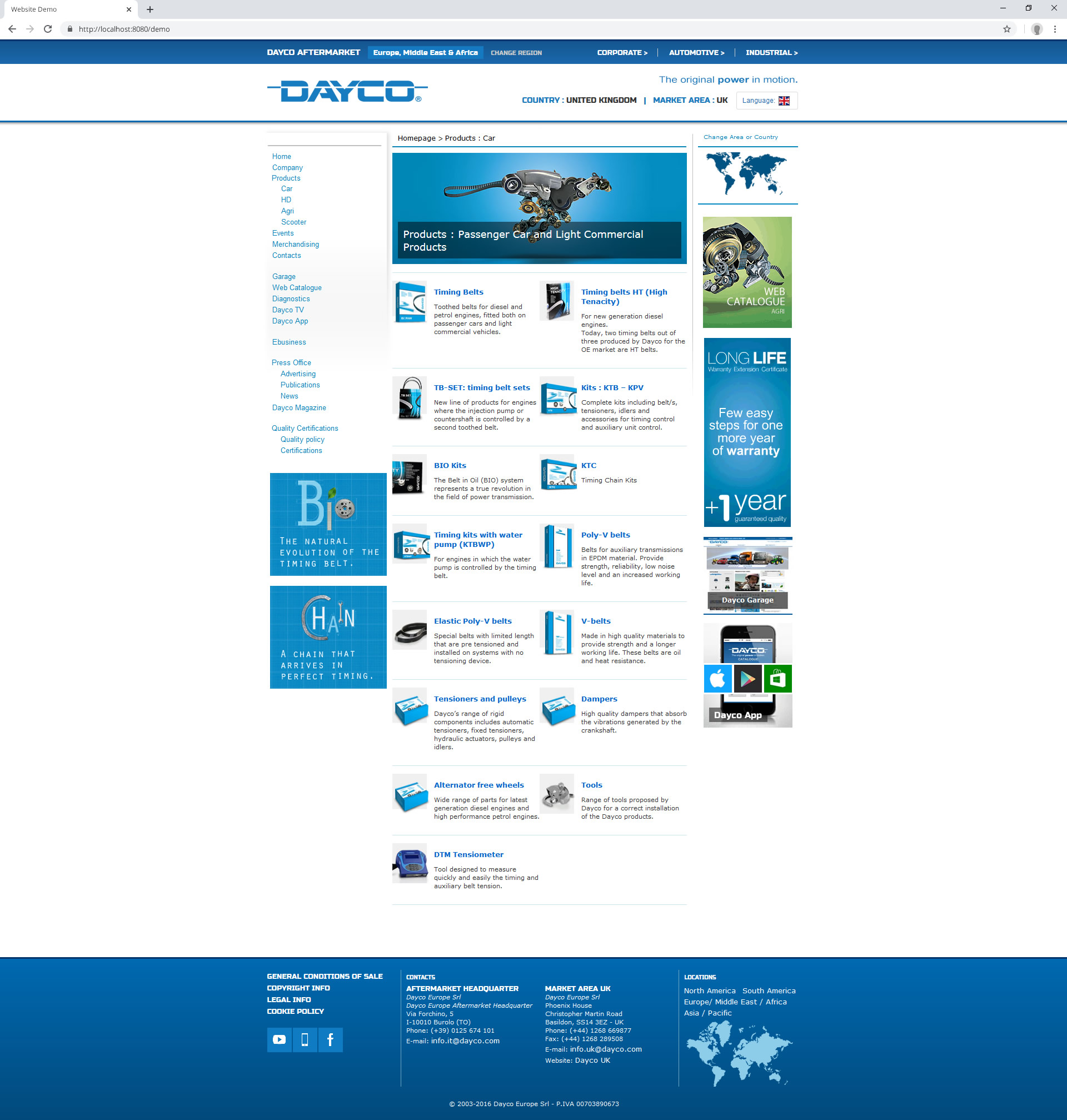 Dayco Aftermarket Website (2016): products