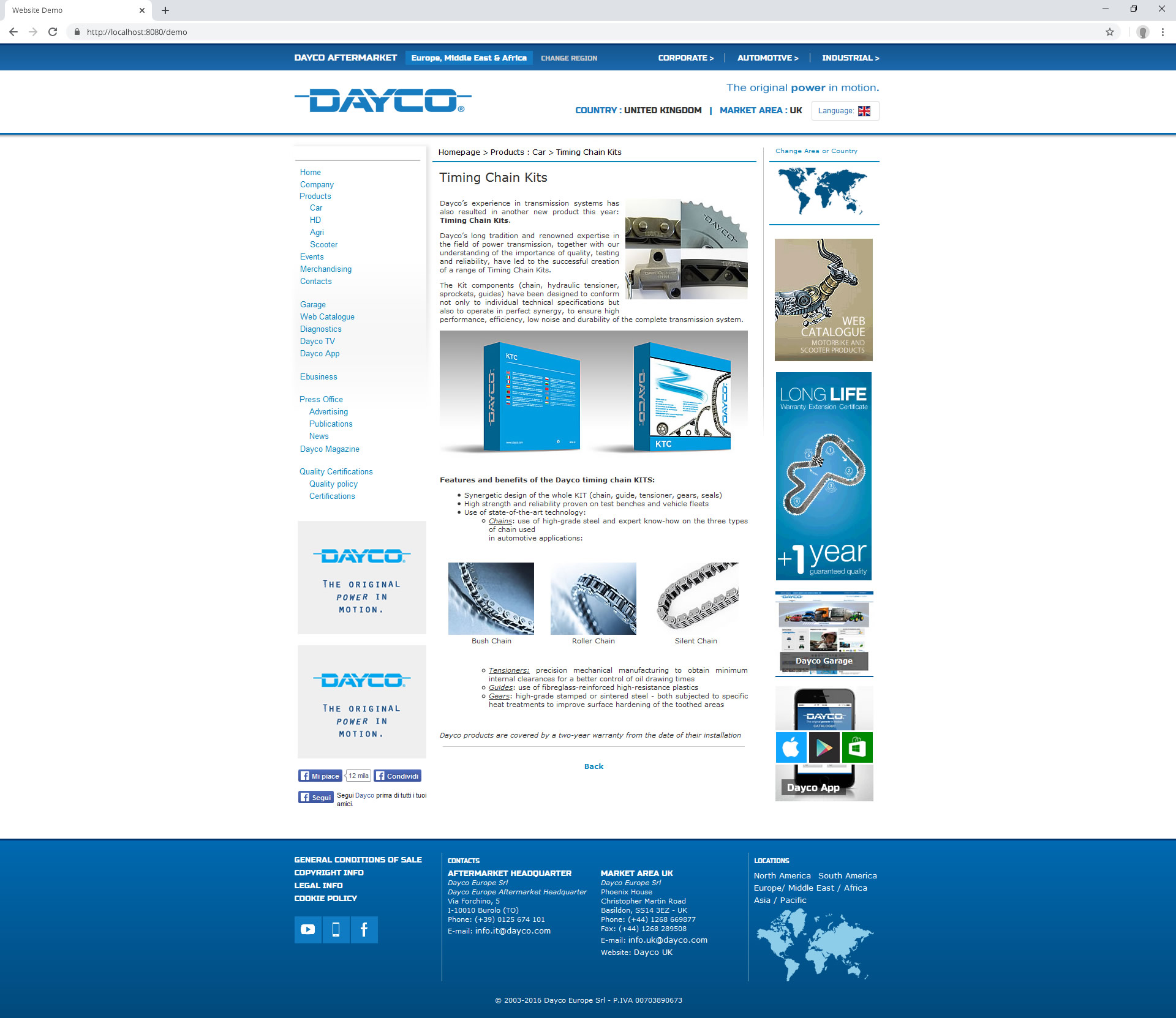 Dayco Aftermarket Website (2016): product page 1
