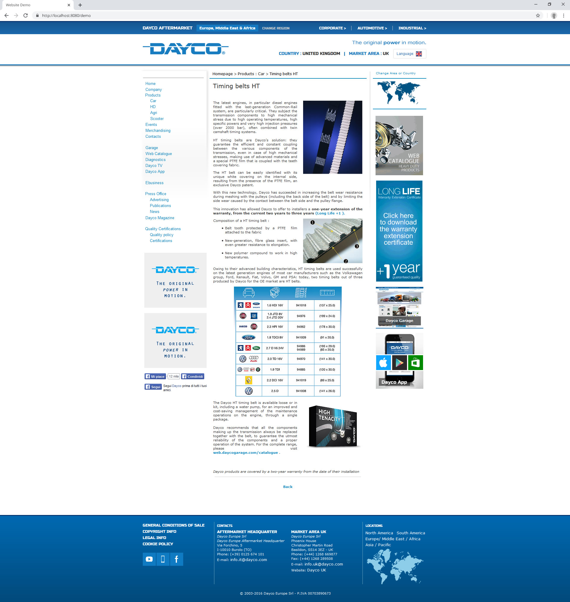 Dayco Aftermarket Website (2016): product page 2